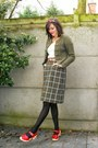 Army-green-cardigan-army-green-skirt-red-shoes-ivory-top-maroon-accessor