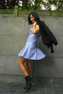Blue-dress-black-blazer-brown-scarf-gray-socks-black-boots
