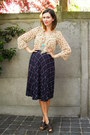 Beige-blouse-navy-skirt-dark-brown-clogs-aquamarine-necklace