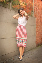 red skirt - sky blue accessories - white blouse - navy wedges