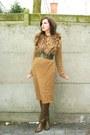 Camel-dress-light-brown-boots-brown-scarf-army-green-belt