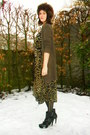 Army-green-dress-black-tights-black-boots-dark-brown-cardigan