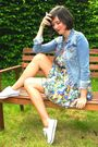 Yellow-dress-blue-jacket-white-shoes