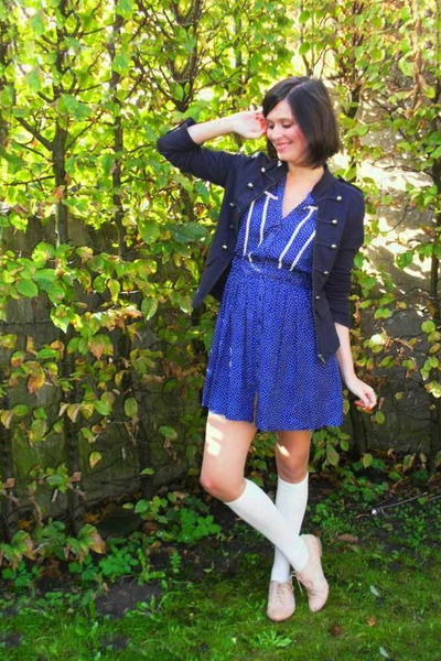 blue dress - blue jacket - white socks - beige shoes