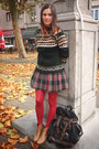 Bronze-boots-forest-green-sweater-ruby-red-tights-navy-skirt