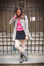 Gray-boots-silver-coat-bubble-gum-sweater-navy-skirt