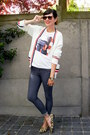 Gray-leggings-tan-flats-white-cardigan-red-cardigan-navy-cardigan
