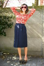 Navy-skirt-red-cardigan
