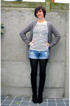 gray cardigan - white t-shirt - blue shorts - black boots - silver necklace
