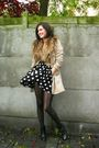 Beige-coat-beige-scarf-black-dress-black-boots-tights