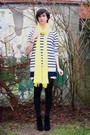 Blue-dress-gray-sweater-black-boots-yellow-scarf