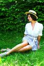 Yellow-boater-hat-blue-skirt-white-blouse-beige-shoes-white-ribbon-belt-