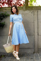 sky blue dress - tan bag - ivory wedges