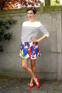 White-sweater-navy-skirt-red-flats-yellow-accessories