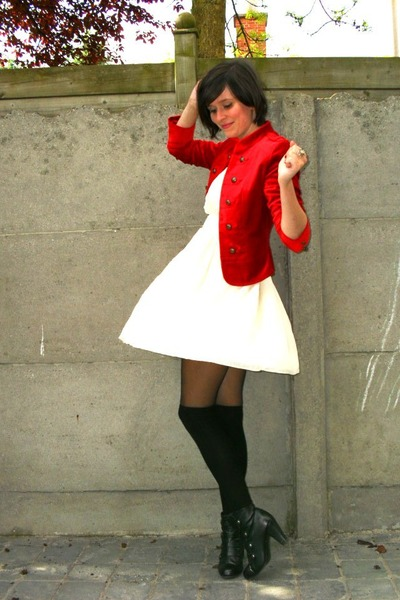 black tights - black boots - white dress - red jacket - black socks