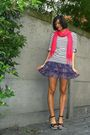Purple-skirt-white-top-black-shoes-pink-scarf