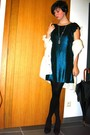 Blue-dress-black-tights-black-shoes-white-sweater