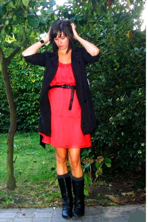 Zara dress - Pimkie coat - Pimkie belt - Pimkie boots - COS bracelet - H&amp;M socks