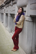 gold sweater - navy scarf - brick red pants