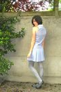 Blue-dress-blue-cardigan-silver-tights-gray-shoes