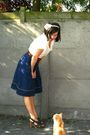 Blue-skirt-white-top-brown-shoes-brown-belt-beige-accessories