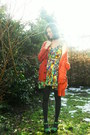 Gold-dress-burnt-orange-cardigan-dark-gray-tights-chartreuse-clogs-silve