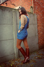 Blue-romper-dark-brown-boots-burnt-orange-tights-camel-jumper