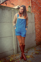 dark brown boots - burnt orange tights - turquoise blue blouse - camel jumper
