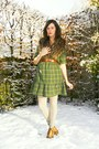 Olive-green-dress-bronze-scarf-off-white-tights-beige-socks-bronze-shoes