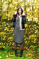 black jacket - gray cardigan - black dress - black boots - black tights