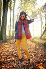 Red-scarf-black-boots-navy-jacket-gold-pants