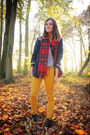 Black-boots-navy-jacket-red-scarf-gold-pants