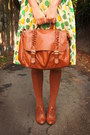 Light-orange-blouse-lime-green-dress-burnt-orange-accessories