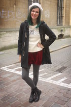 ivory sweater - black coat - dark gray tights - crimson skirt
