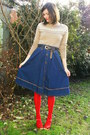 Camel-sweater-red-tights-navy-skirt-red-clogs-dark-brown-belt