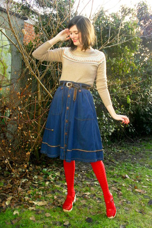red clogs - camel sweater - red tights - navy skirt - dark brown belt