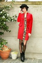 red jacket - red dress - black boots - yellow scarf - black hat