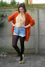 light blue shorts - carrot orange cardigan - beige blouse - gold flats - silver