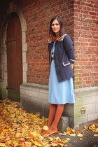 navy jacket - sky blue dress - burnt orange accessories