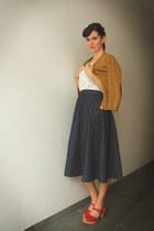 navy skirt - red clogs - mustard cardigan - ivory top