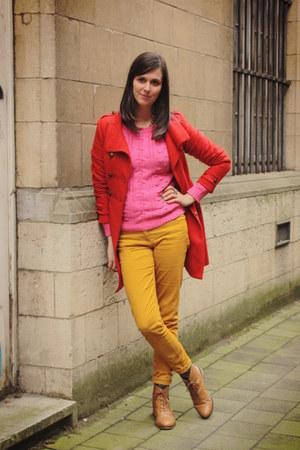red coat - bronze boots - bubble gum sweater - gold pants