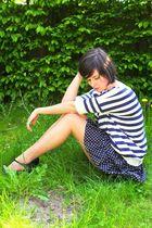 blue sweater - blue dress - black shoes