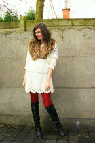 light brown scarf - ivory sweater - ivory dress - ruby red tights - black boots