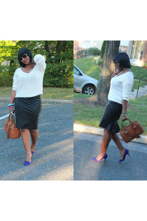 leather skirts Zara skirt - asymmetrical Aldo shoes - Forever 21 sweater