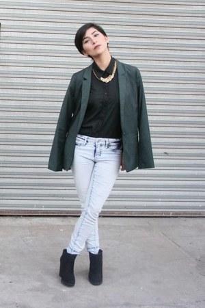 dark green Bershka blazer - black Zara boots - sky blue Forever 21 jeans