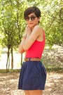 Hot-pink-dress-as-a-top-forever-21-top-navy-forever-21-skirt