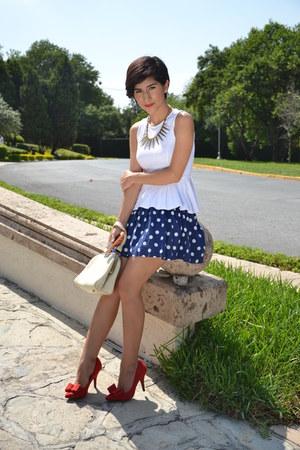 white Shasa top - ruby red shoes - navy polka dot skirt