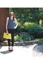 black JCrew pants - yellow Charming Charlie bag - navy top