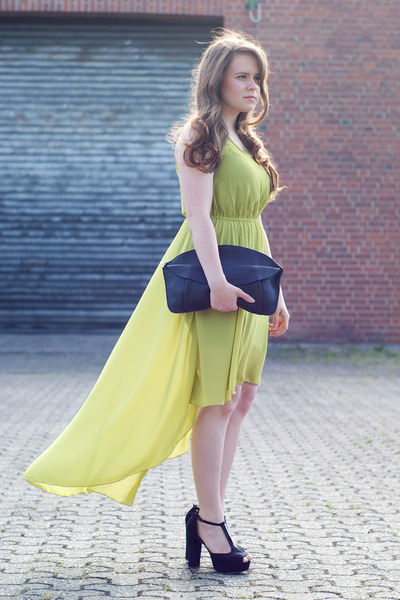 lime green high low AX Paris dress - black H&M bag - black bullboxer pumps