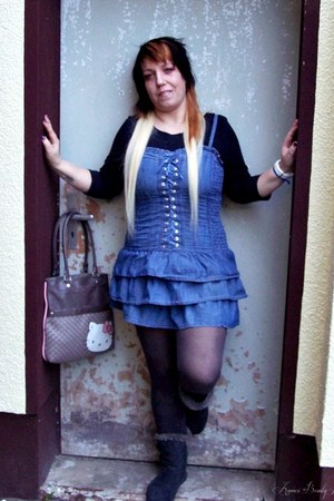 hello kitty bag - JustFab boots - jeans Hello Kiss Jeans dress